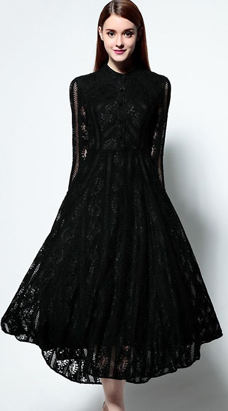 Elegant Stand Collar Long Sleeve Lace Hollow Out Skater Dress ... f17567a06