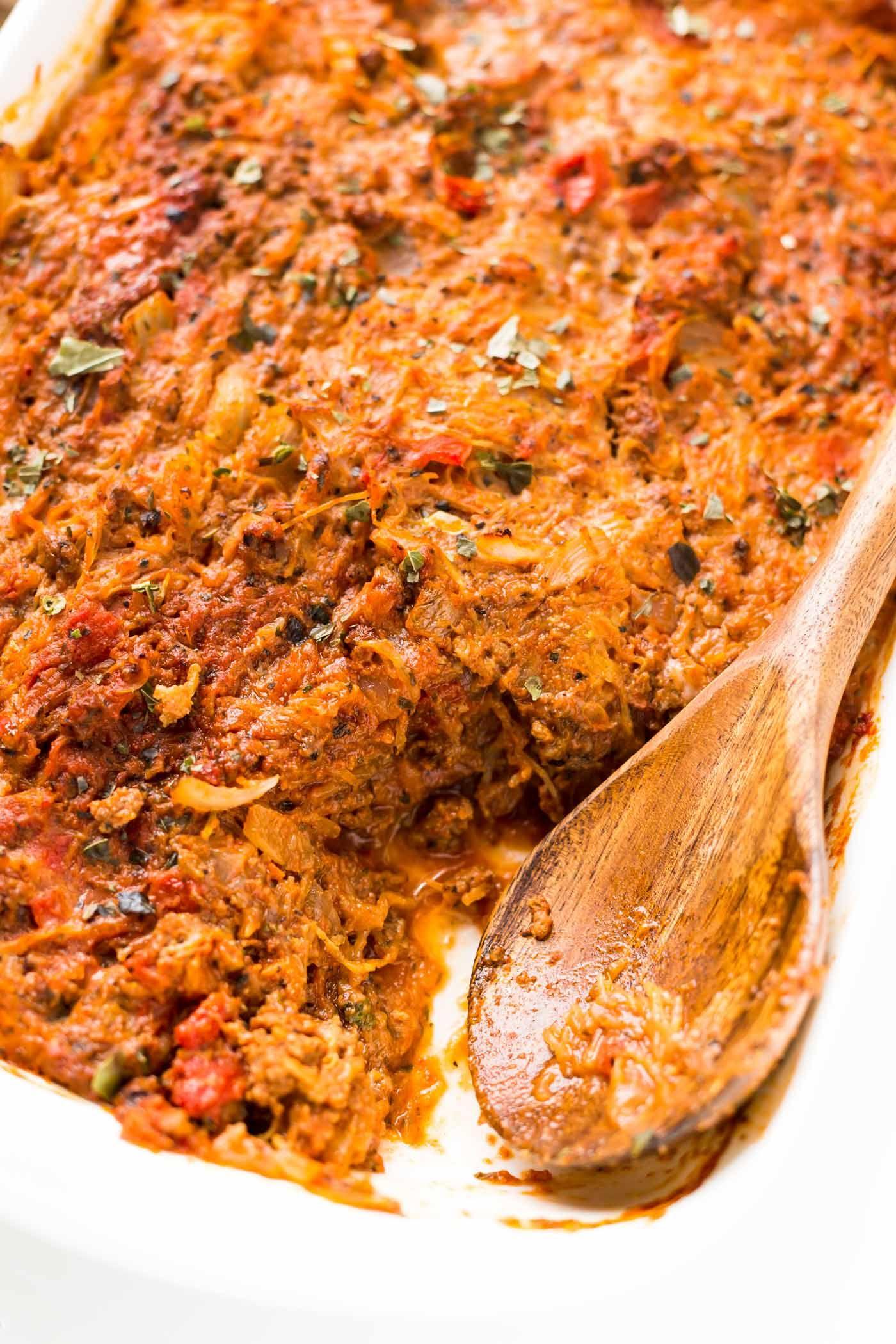 Baked Spaghetti Squash Casserole (Paleo, Whole30,