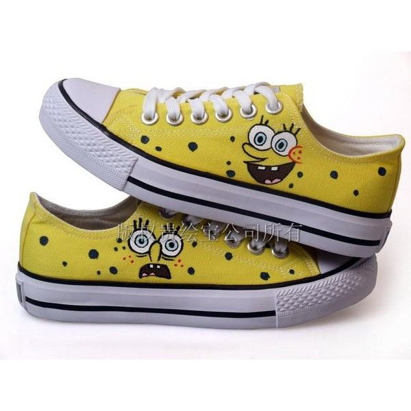 Low-cut shoe shoes painted shoes SpongeBob SquarePants ❤ liked on Polyvore