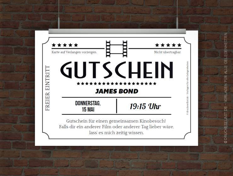 Kostenloser Kinogutschein Kinogutschein Gutschein Basteln Kino Kinogutschein Zum Ausdrucken