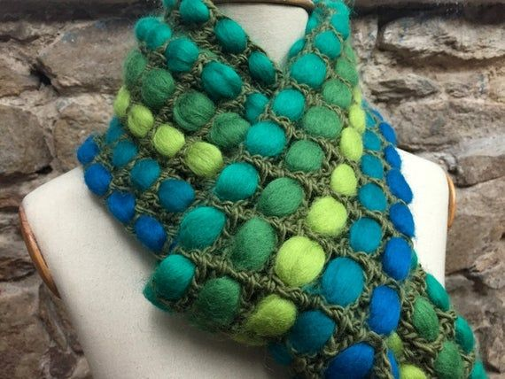 Photo of Green crochet scarf, chunky wool shawl, Knitted Scarve, wool green scarf, green knit shawl, colorful scarf, unique gift, Extra long scarf