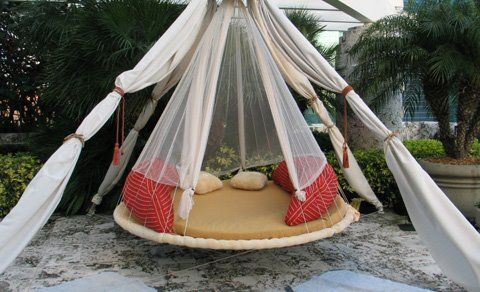 This is an old trampoline! What a great recycle idea