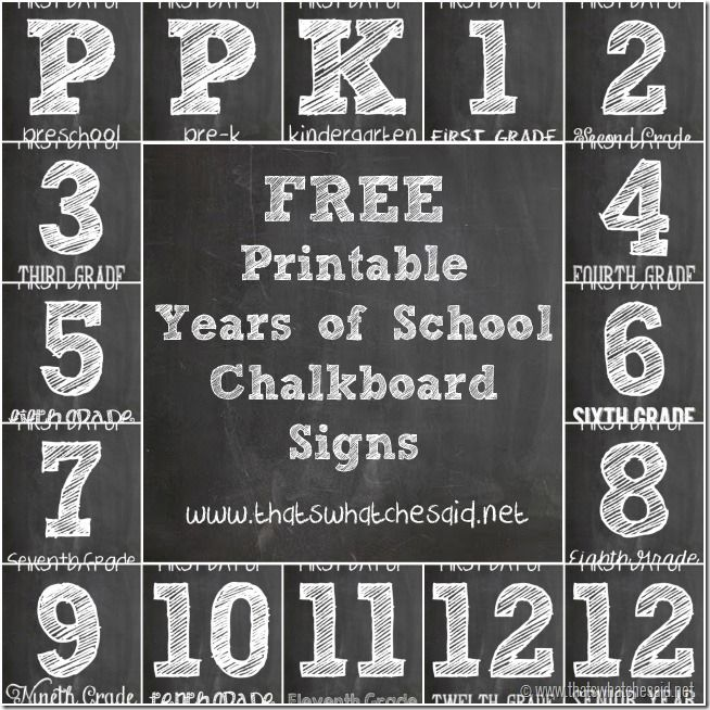 Free-Printable-Years-of-School-Chalkboard-Signs - Thatswhatchesaid