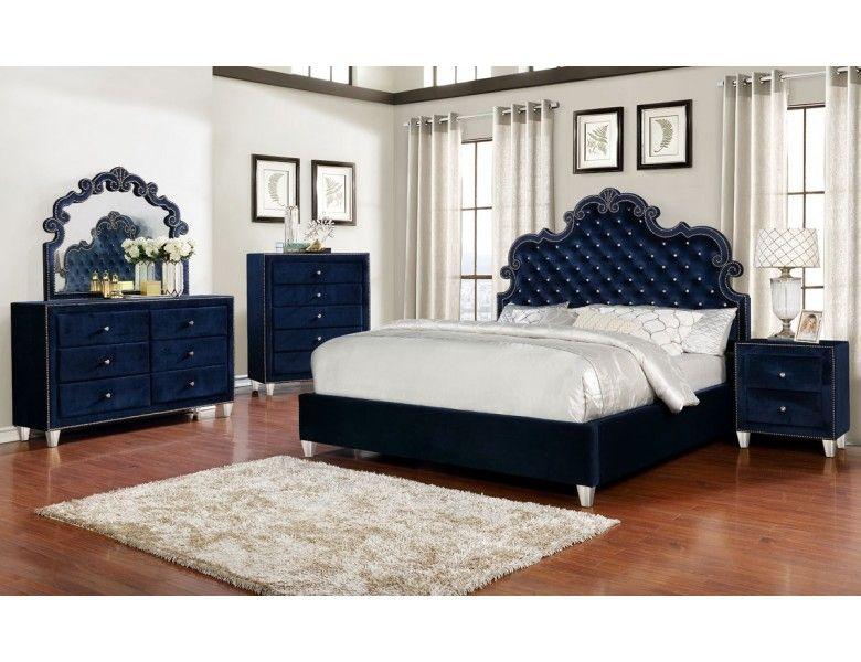 Malone Modern Storage Bed Blue Bedroom Furniture Velvet Upholstered Bed Modern Storage Beds