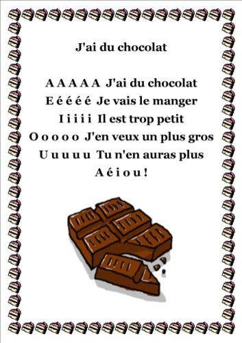 Poésie Jai Du Chocolat Comptines Lenseignement Du