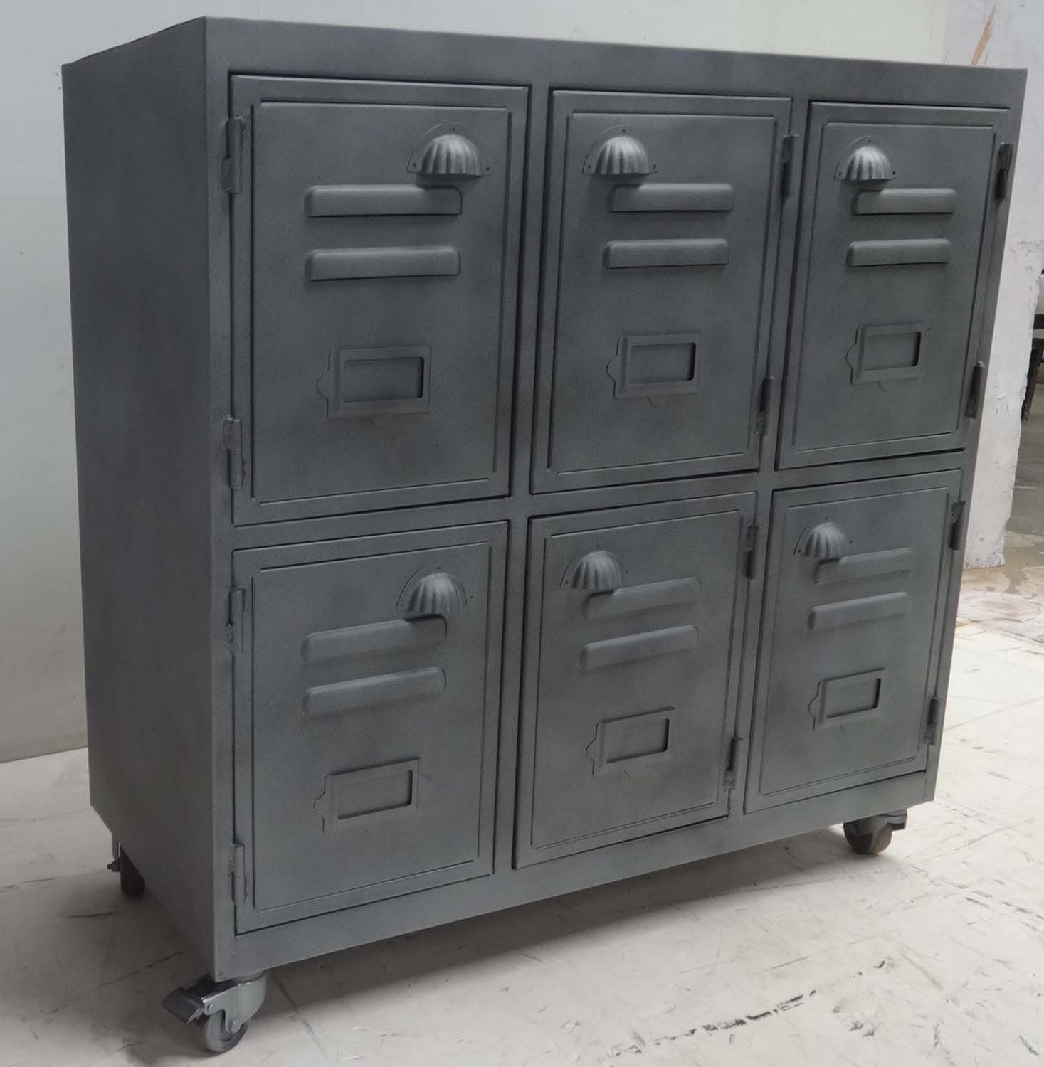 Vintage Industrial Metal Locker Cabinet. Unique Vintage Piece Of Furniture