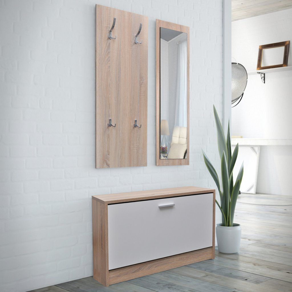 vidaXL Vestiaire d'entrée 3 éléments en bois Blanc et aspect chêne: Amazon.fr: Cuisine & Maison