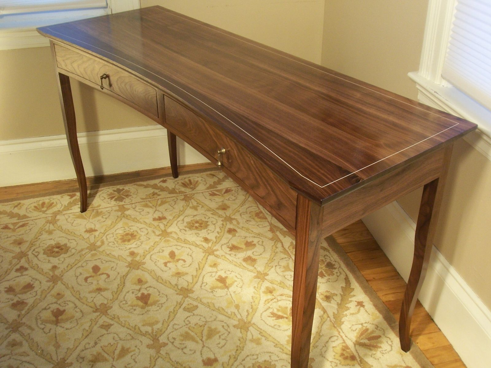 Custom Made Crescent Front Walnut Writing Desk Newton Fine Woodworking Walnut Writing Desk Build A Farmhouse Table Woodworking Inspiration
