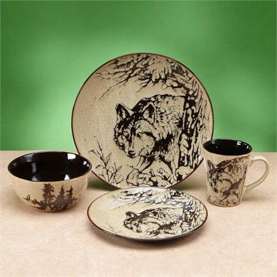 Wolf Dinnerware | 4 Piece | Place Setting | Woodlands Collection ...
