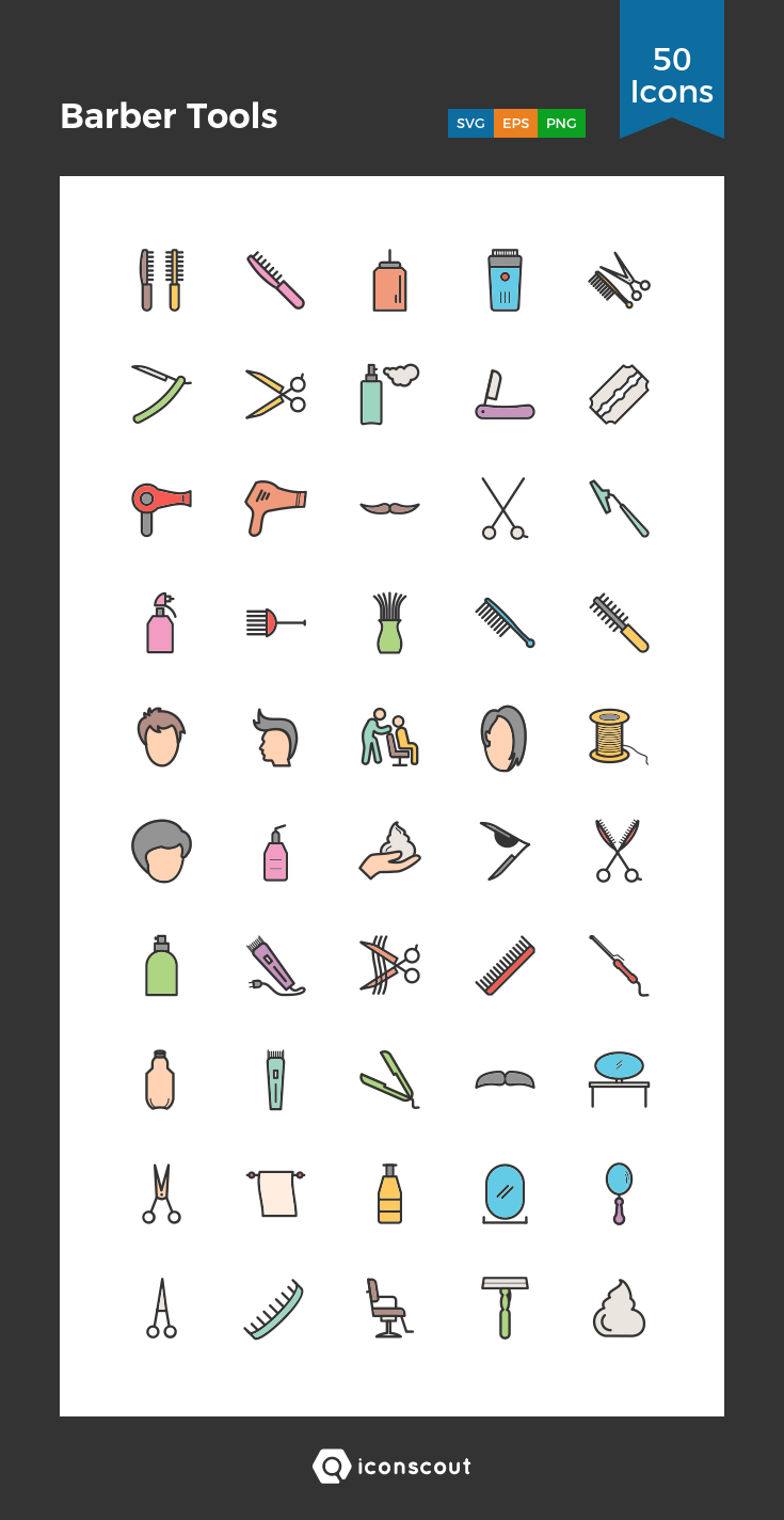 acc0cffcc Barber Tools Icon Pack - 50 Filled Outline Icons | Beauty & Fashion ...