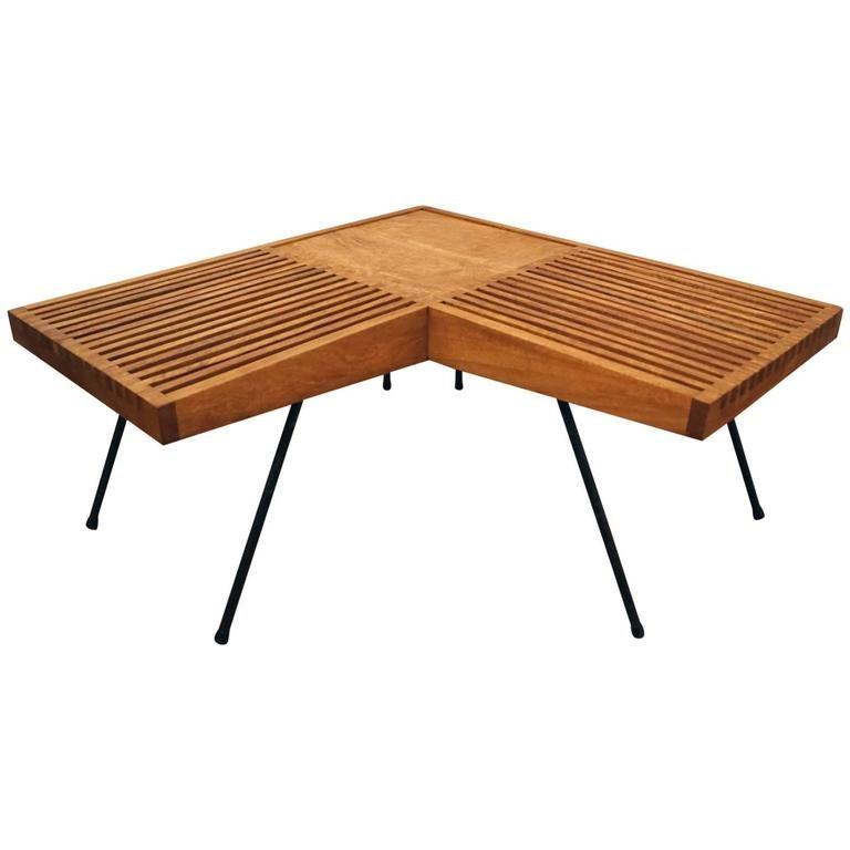 1950s Mahogany And Iron Corner L Shaped Slat Table Or Bench 1stdibs Com Antique End Tables Modern Vintage Furniture Modern Table Design