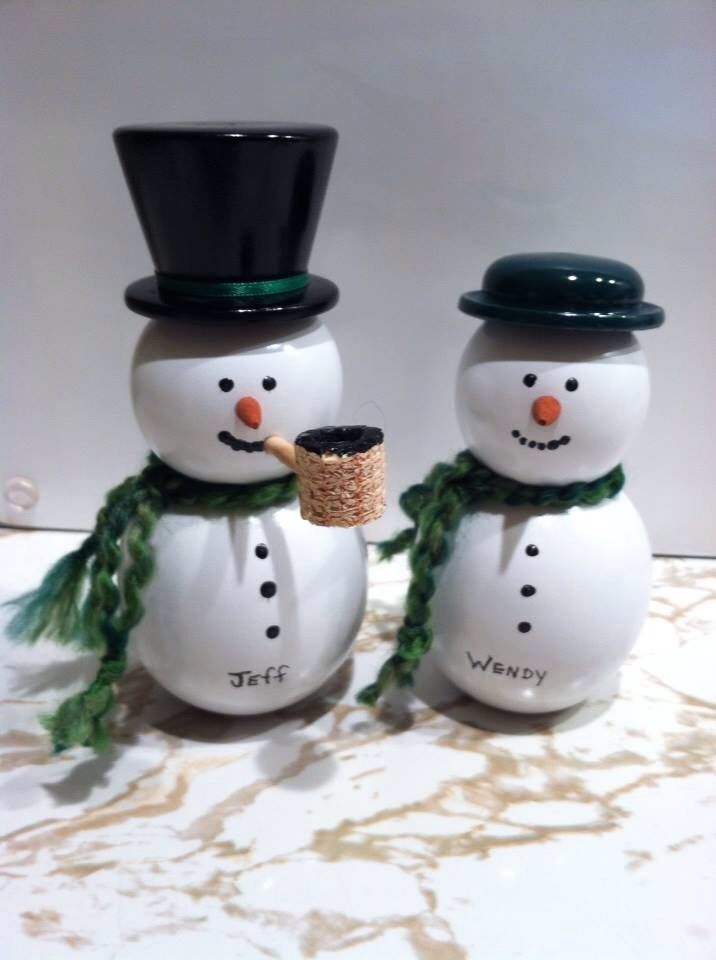 Snowman And Snow Lady Wooden Christmas Ornaments Wooden