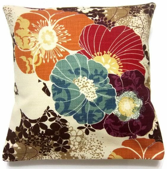 Decorative Living Room Pillow Covers : Decorative Pillow Cover Tangerine Orange Aqua Purple Red Brown Cream Multicolored Accent Toss ...