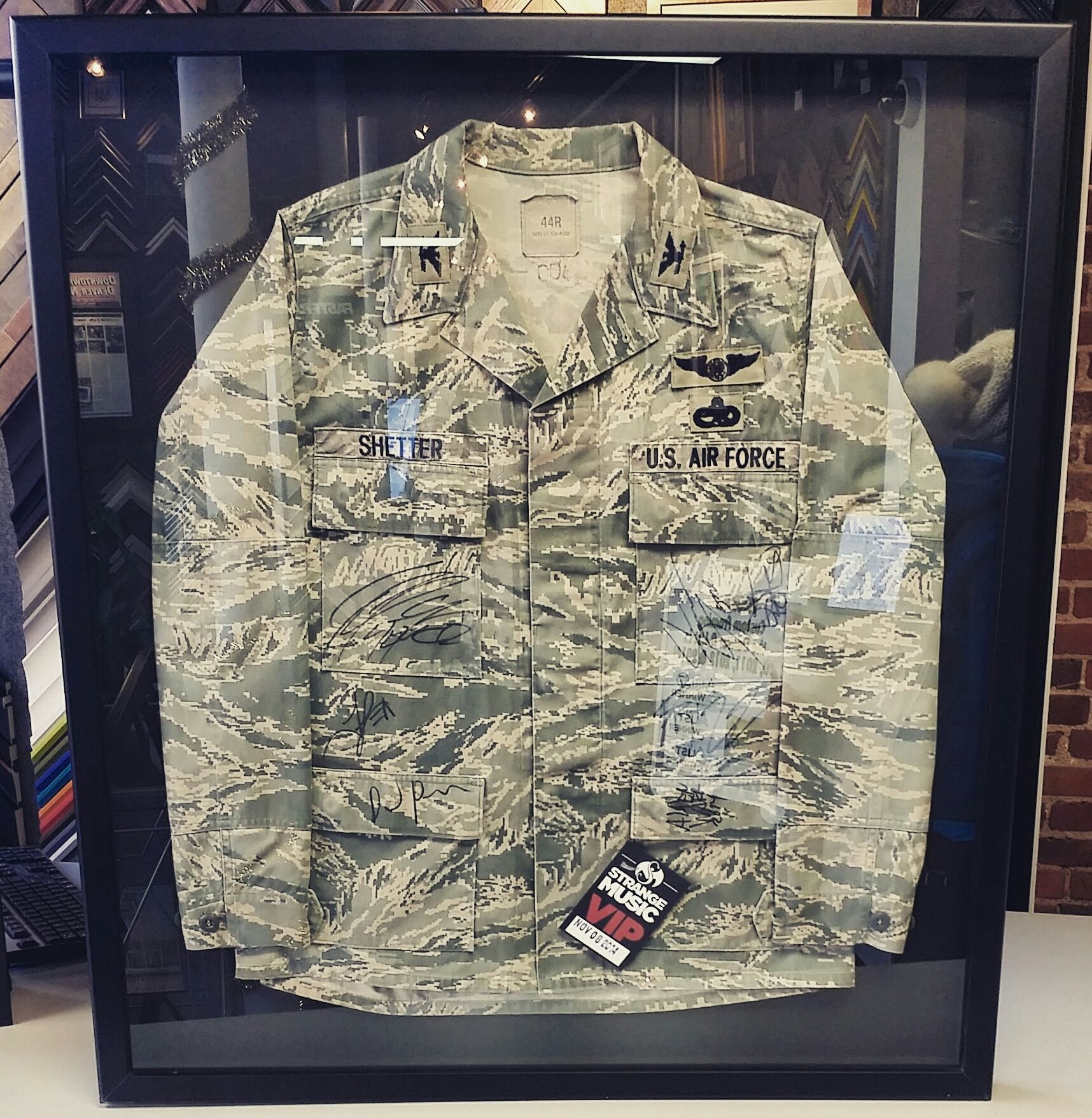Air Force jacket in a custom framed shadowbox! Custom