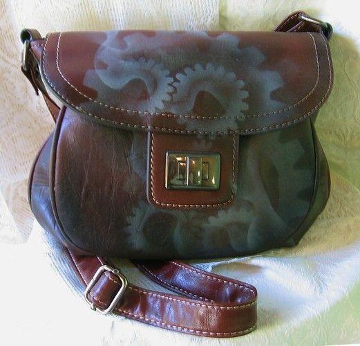 Brown Artist Airbrushed Steampunk Handbag faux leather. (airbrushed handbag... hmmm... fun idea... jvb)