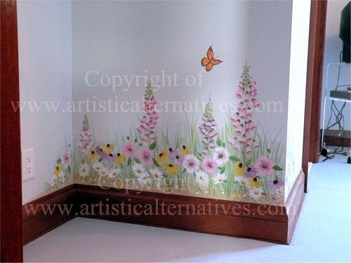 Garden mural nursery room mural with a garden theme flower mural garden mural nursery room mural with a garden theme flower mural birds mural negle Images