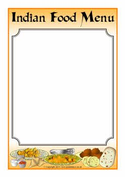 Free Editable Indian food menu writing frames, 2 styles ...