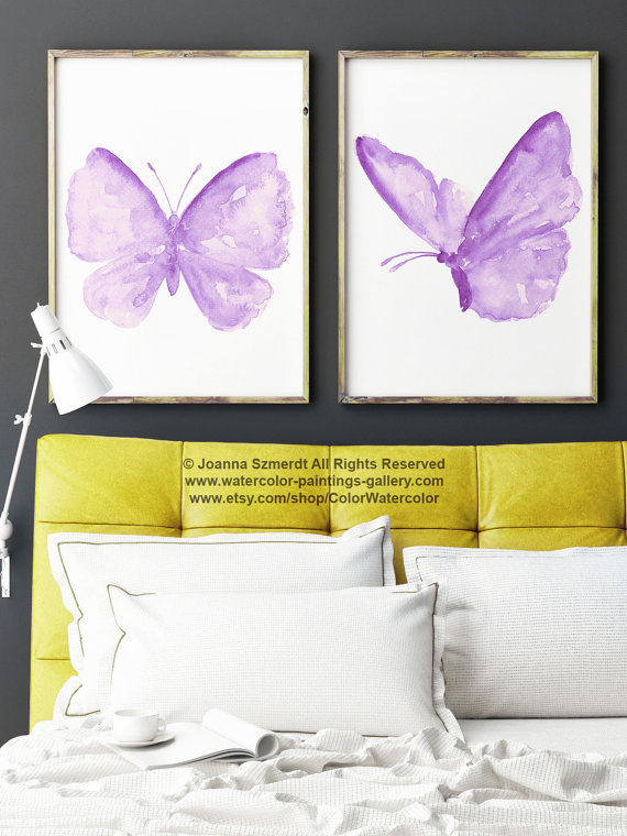 Purple Butterfly Nursery Wall Decor Butterflies by ColorWatercolor ...