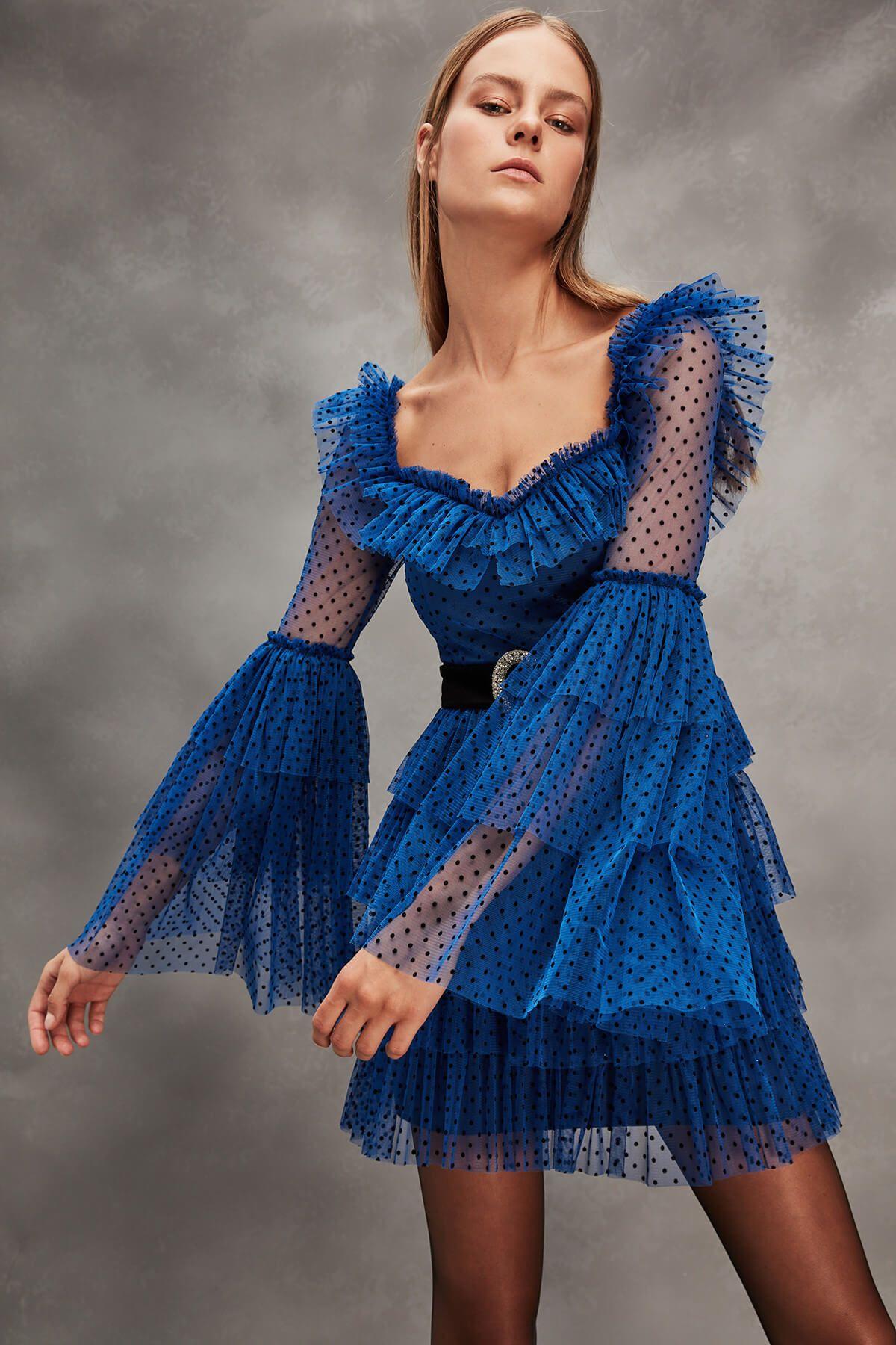 Rachel Mavi Kemer Detayli Abiye Elbise Tdpaw19fz0166 Raisa Vanessa For Trendyol Trendyol Fashion Evening Dresses Lace Dress Styles