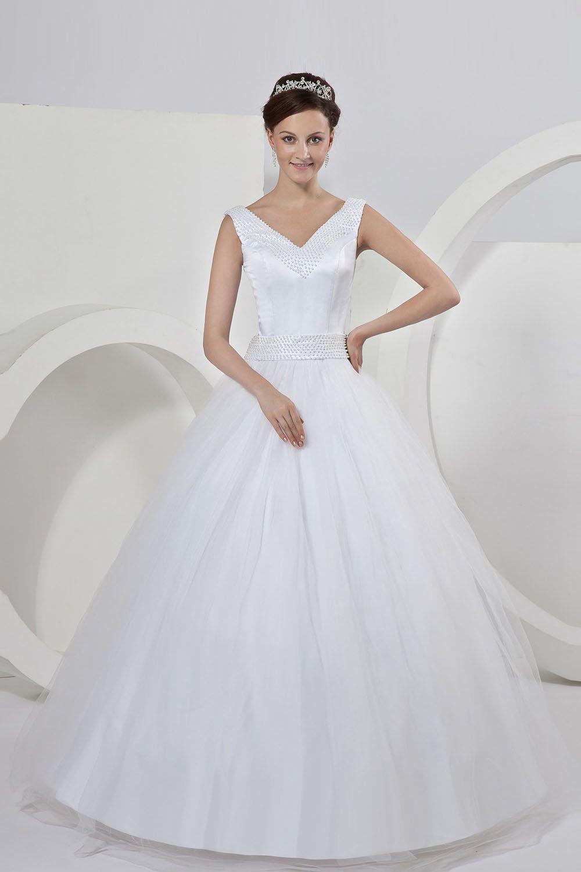 Ball gown white satin anklelength vneck wedding dress