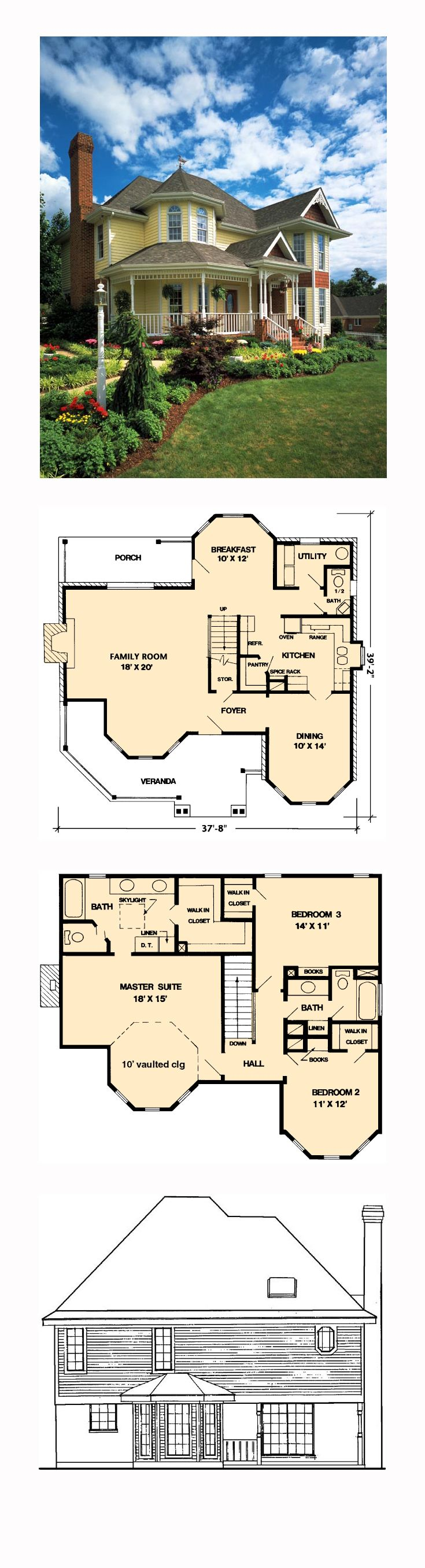 Victorian Style House Plan 95647 With 3 Bed 3 Bath 2 Car Garage Victorian House Plans House Blueprints Sims House Plans