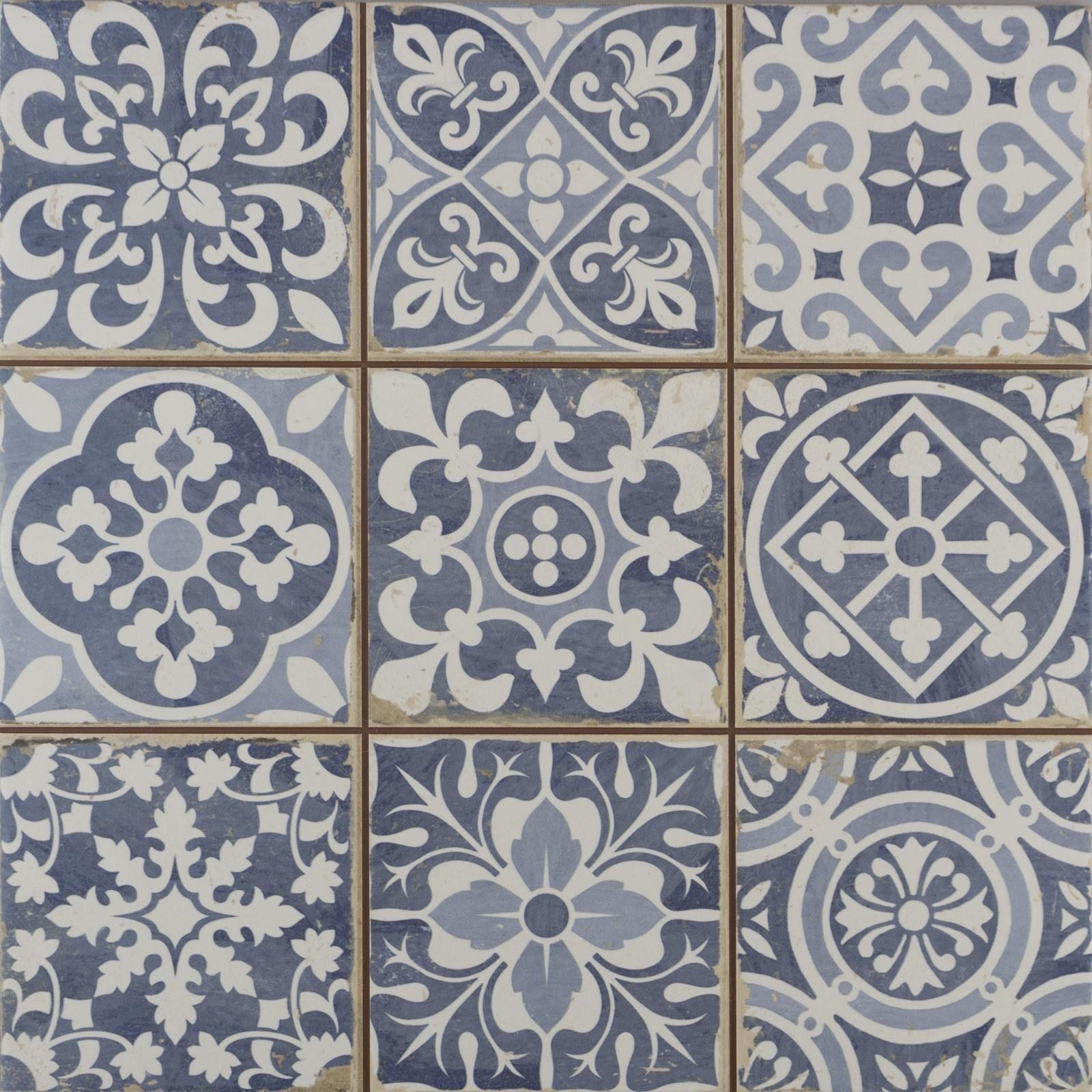 Faenza Rustic Blue Patterned Matt Tiles Victorian Tiles Blue