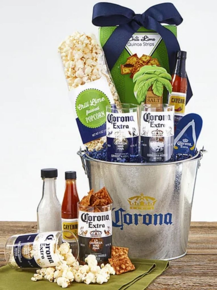 Corona Party Bucket Gourmet Gift Baskets Birthday Basket Snack Baskets