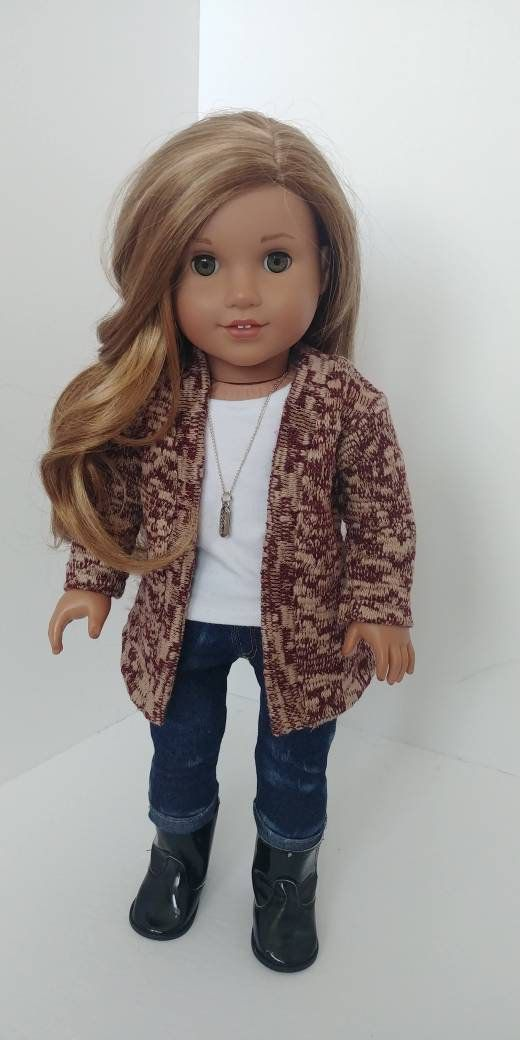 18 inch doll clothes. Fits like American girl doll clothing. 18 inch doll clothes. Cardigan sweater #18inchdollsandclothes
