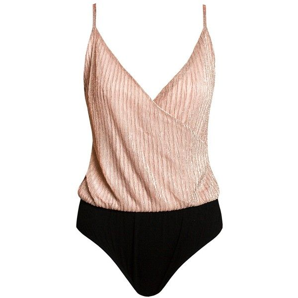 Sans Souci Rose gold shimmer surplice bodysuit ($29) ❤ liked on Polyvore featuring intimates, shapewear and rose gold