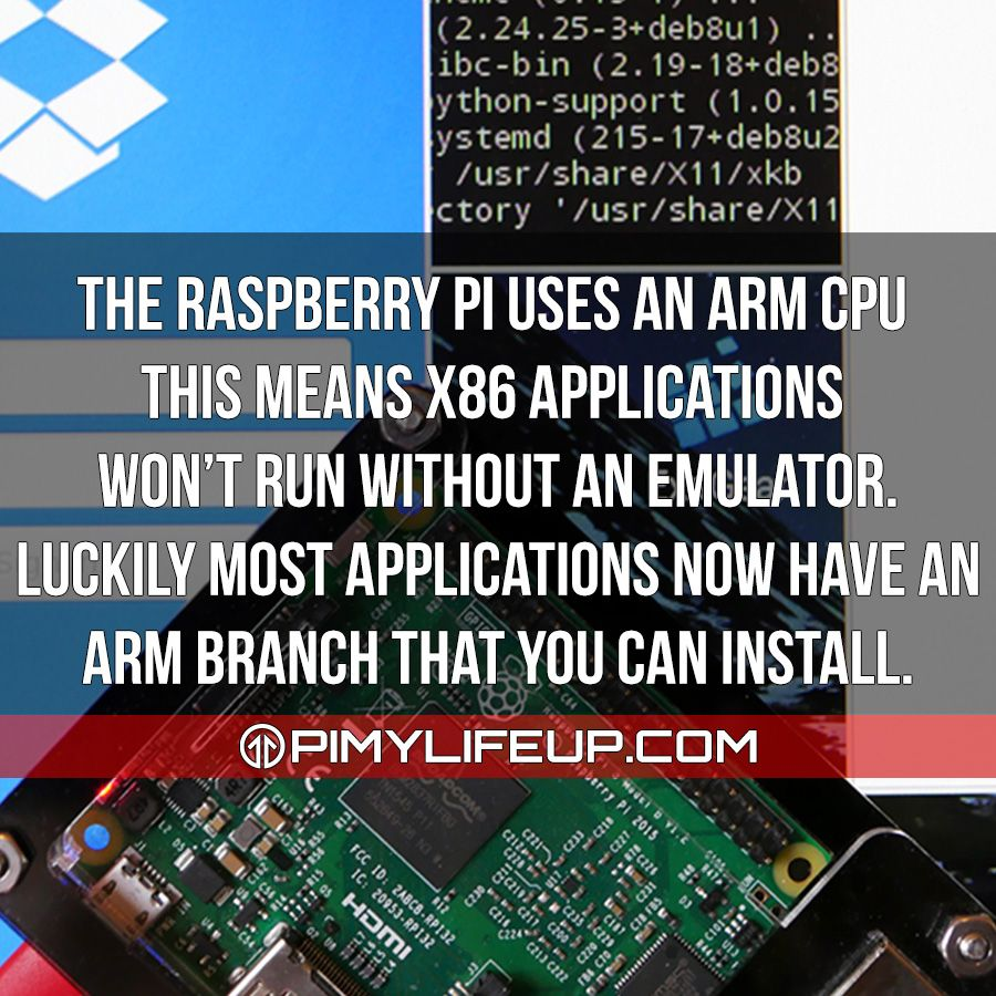 The Raspberry Pi uses an ARM cpu this means x86 applications won't