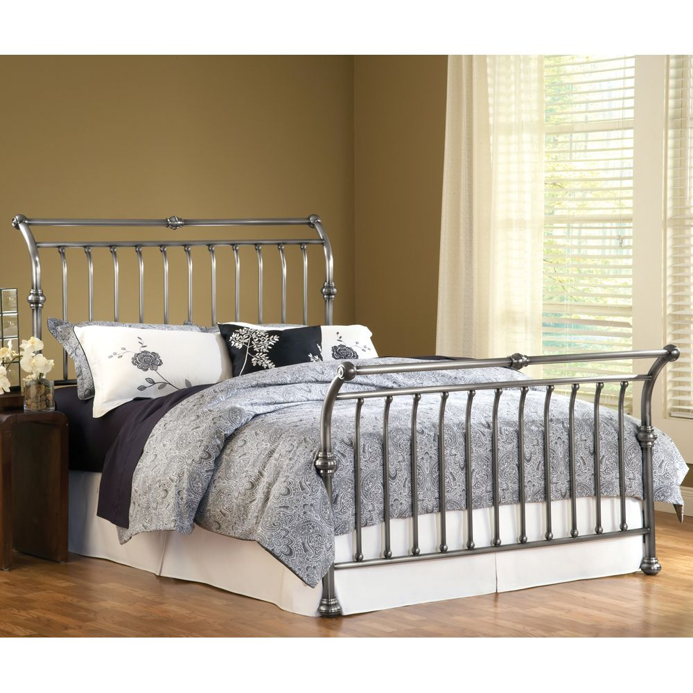 markham iron sleigh bed by hillsdale furniture wrought iron headboard footboard complete frame sleigh bed hillsdale bedsqueen