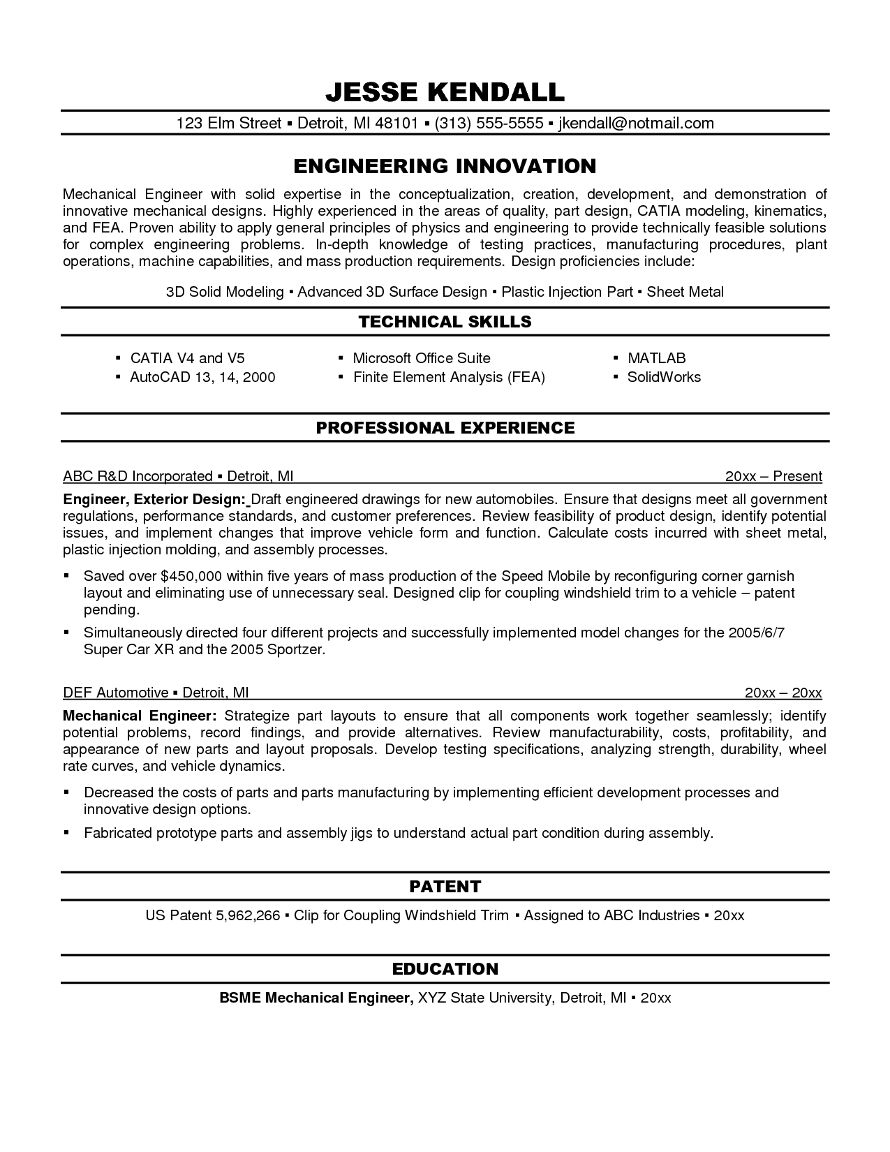 mechanical design engineer resume cover letter - Orgsan ...