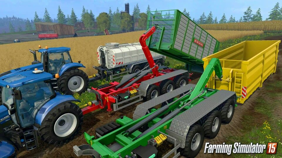 A Fleet Of New Holland Tractors Each With Their Own Uniquely Attached Loading Wagons Used For The Farming Simulator 2015 Farming Simulator New Holland Tractor