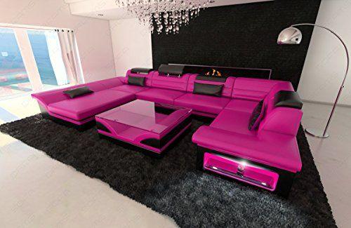 Leather Interior design ENZO LED pink-black | Living Room Sofa Sets ...