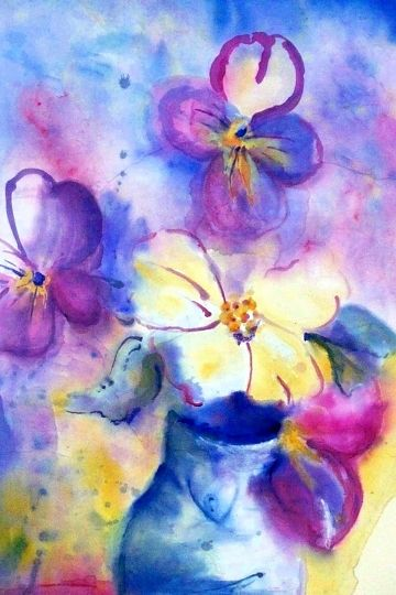 """Blue Vase"" - Watercolor by Barbara Sophia on rice paper, in Watercolors"