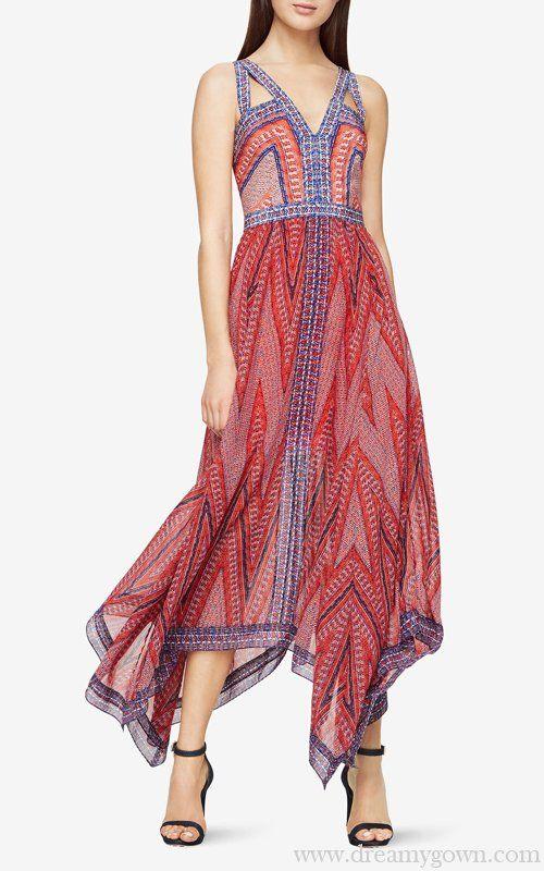 2017 Aba Mosaic Print Patterns Maxi Bcbg Chiffon Dress