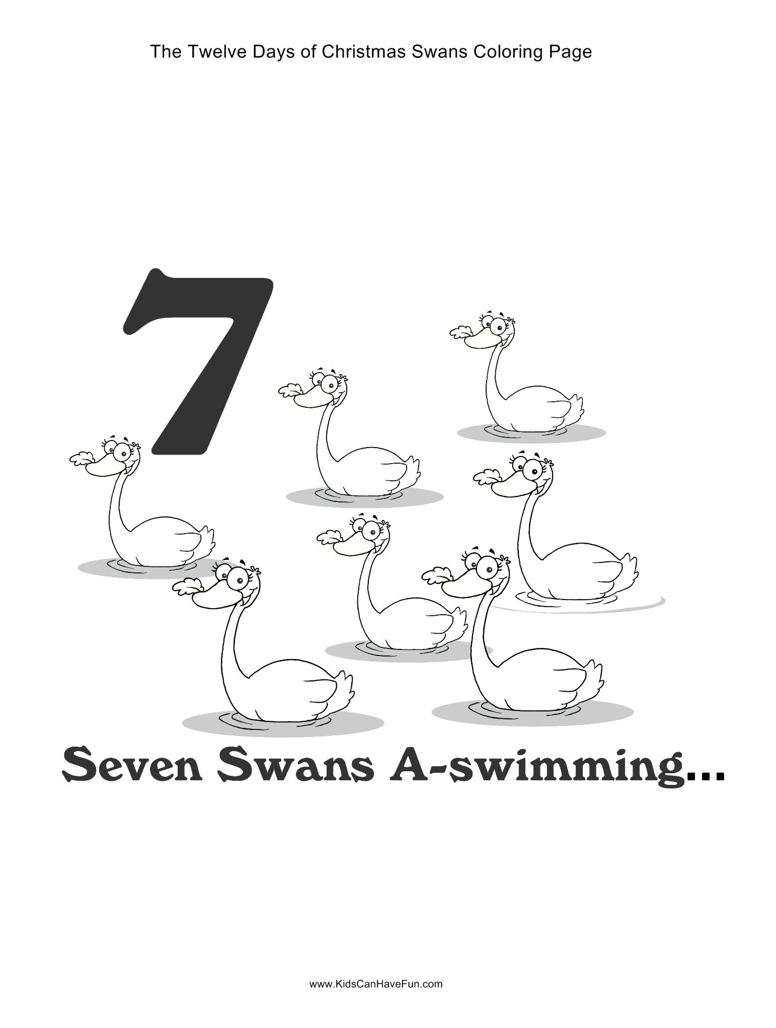 12 Days of Christmas Seven Swans a-swimming coloring page