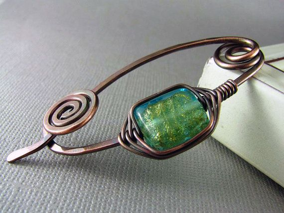 Copper Shawl Pin Wire Wrapped Jewelry Green African Turquoise Scarf or Sweater Pin Fibula Wire Shawl Pin Gift for Mom Copper Brooch