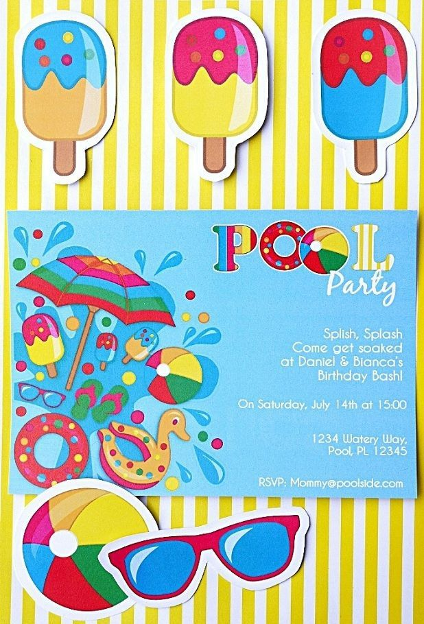 Birthdays InvitationPrintable Birthday Pool Party Invitations For Kids With Stripes Yellow BackgroundPrintable