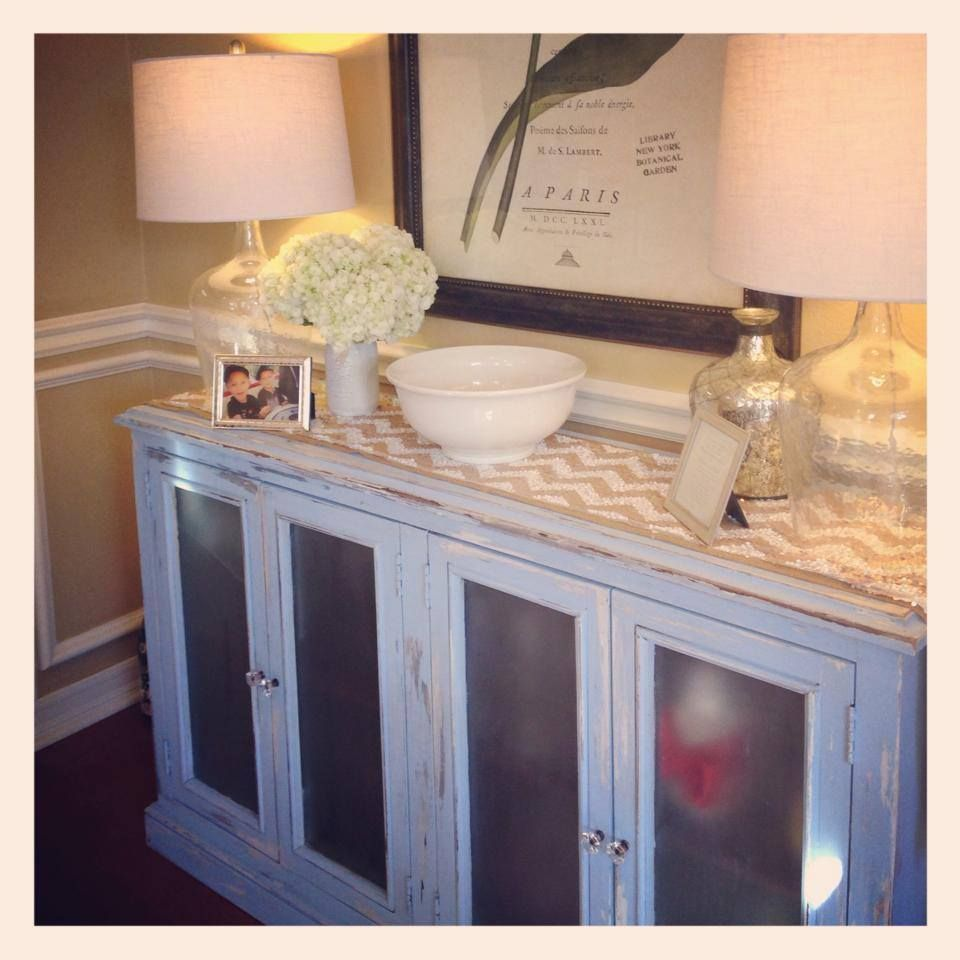 Chalk Paint Robins Egg Blue Shabby Chic Buffet Color Celestial Blue By Martha Stewart Plasti Dip Fros Shabby Chic Buffet Funky Furniture Frosted Glass Door