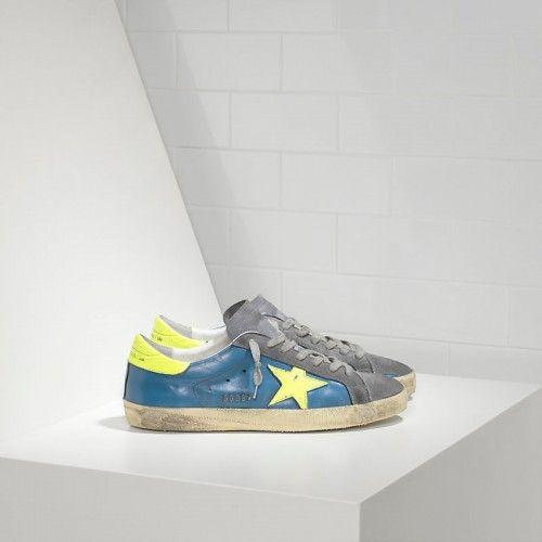 the latest 4c350 973ac 2016 Nouvelle Soldes Golden Goose Super Star Chaussures In Leather With Fluo  Leather Star Homme Bleu Jaune Gris Pas Cher En Ligne