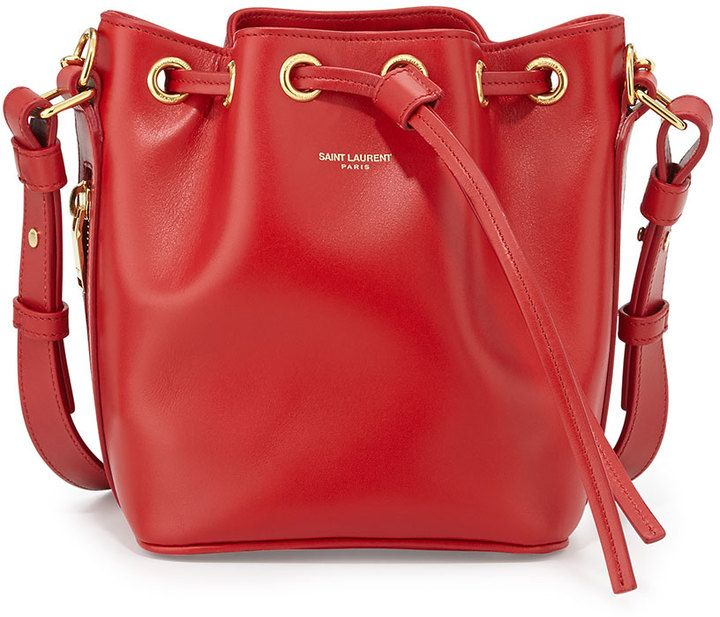 1 350 Red Leather Bucket Bag Saint Laurent Small Crossbody Sold