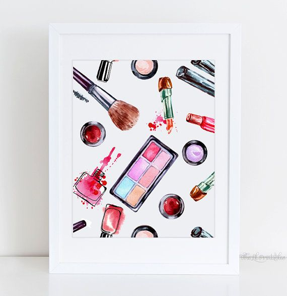 Makeup printable cosmetic wall art beauty room by for Teen wall art