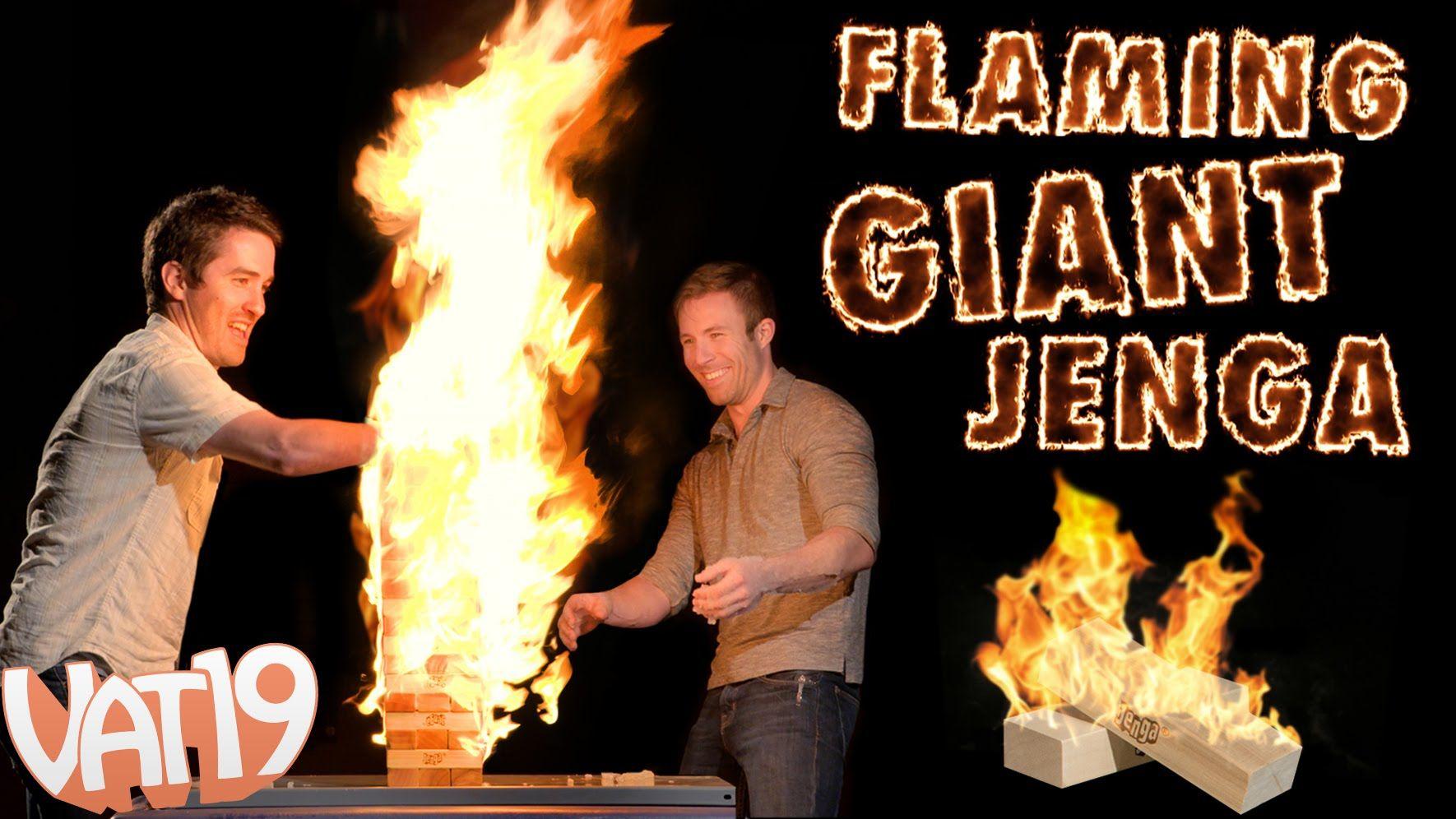 Playing a Giant Game of Flaming Jenga Giant jenga, Fire