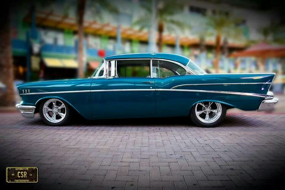 57 Chevy Wheels Rake Color Classic Cars Muscle Chevy Old