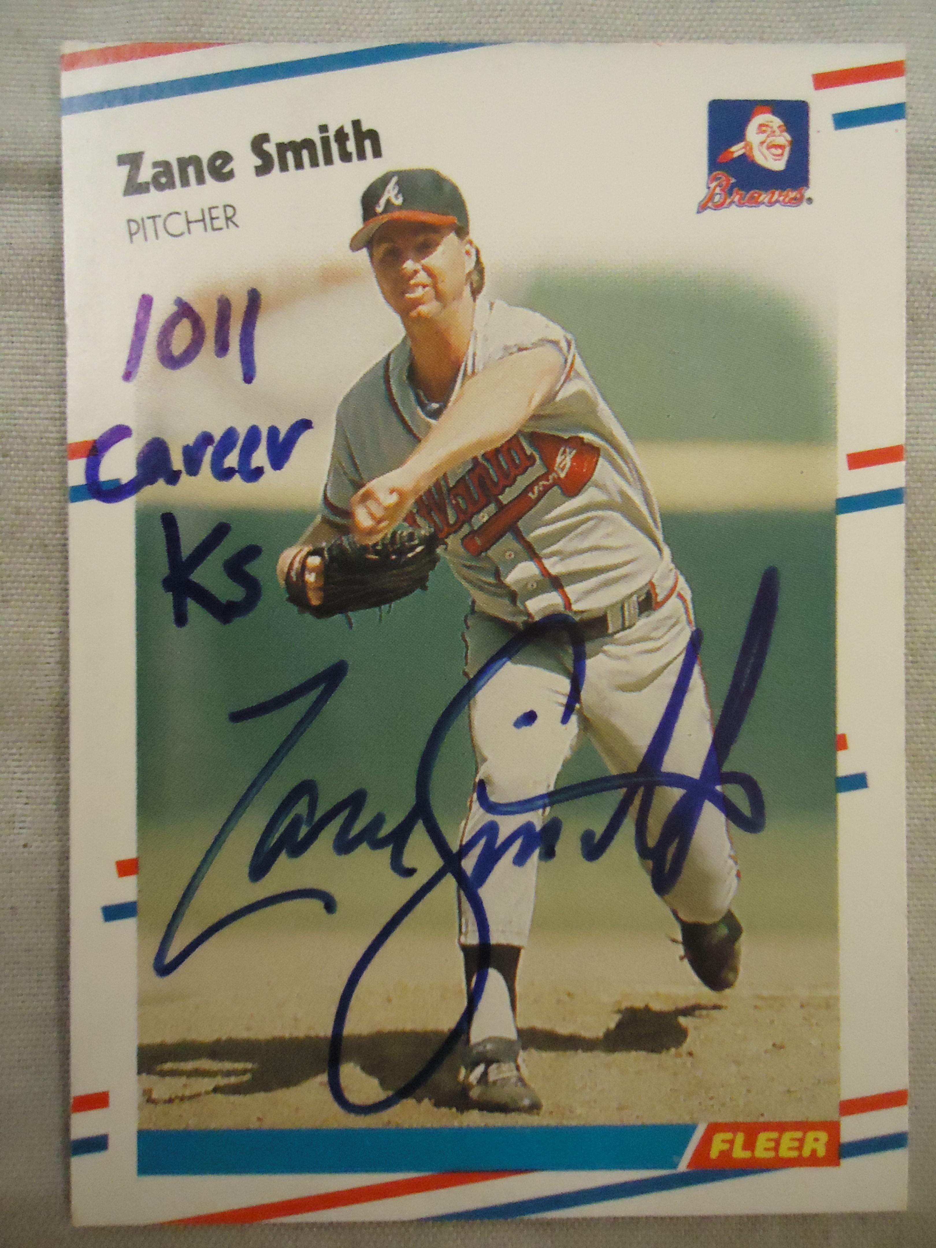 Zane Smith Ttm Inscribed 1 011 Career K S Atlanta Braves Braves Baseball Cards