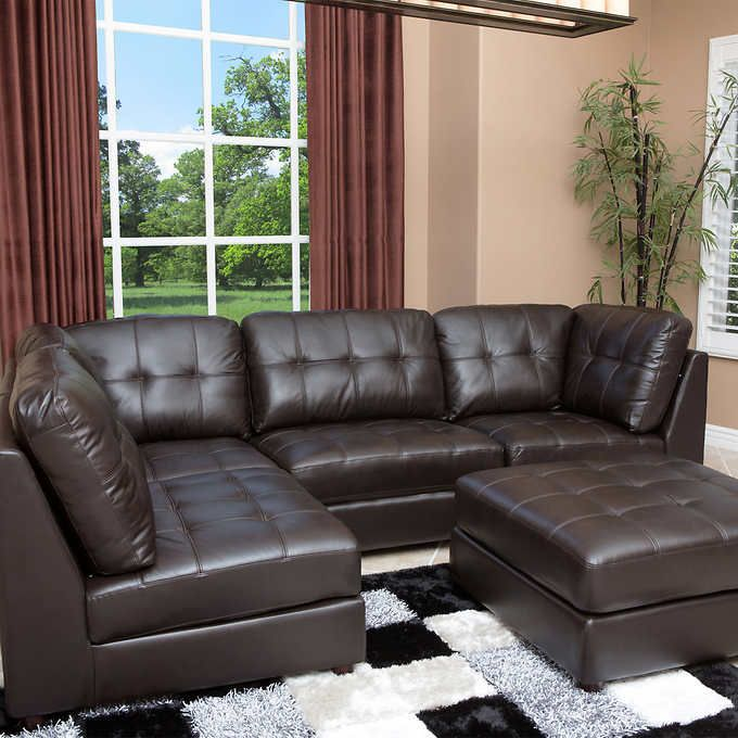 Calvin 5 Piece Top Grain Leather Modular Sectional Living Room Set Part 97