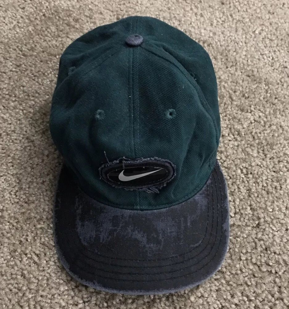 9b3ba683e Vintage 90s Nike Hat Cap RARE Ajustable Green One Size Fits Most ...