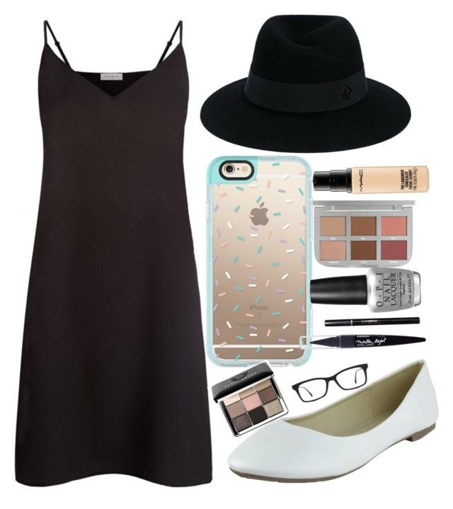 """""""Vacation: Evening 3"""" by priya-smiles ❤ liked on Polyvore featuring Sandro, Maison Michel, Casetify, Ray-Ban, MAC Cosmetics, Bobbi Brown Cosmetics, Maybelline, OPI and LetsGetTen"""