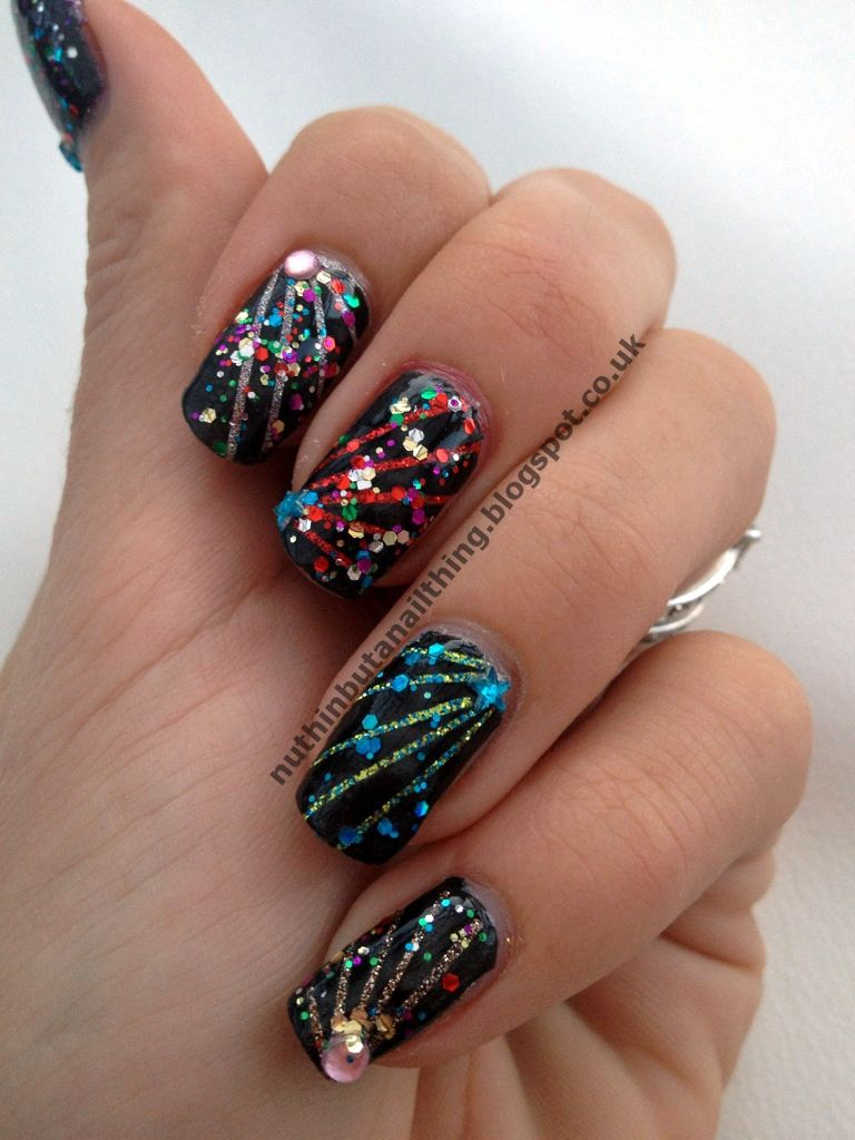 New years Fireworks … Firework nails, New years nail